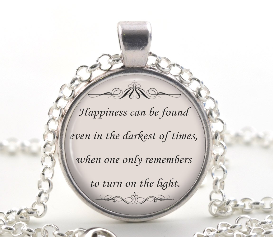 Happiness Quote Necklace, Book Lover Pendant Inspirational Jewelry Gift for Women and Girls