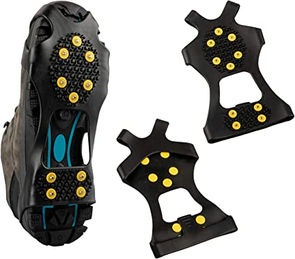 Sizes S//M//L//XL//XXL 10-STUD Anti Slip Winter Ice Grippers Snow Traction Cleats Crampon Spikers Ice Traction for Hiking Fishing Climbing Walking Outdoor Sport CawBing Ice Snow Grips
