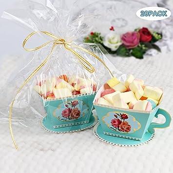 Aytai 20pcs DIY Rose tazas de té cajas de regalo con manijas y platillos para decoraciones