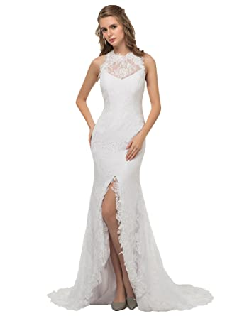 3f75b7b52 Miao Duo Sexy Summer Beach Lace Wedding Dresses for Bride High Slit Bridal  Gowns Ivory