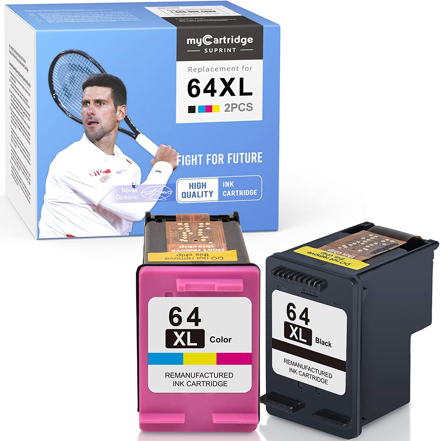myCartridge SUPRINT Remanufactured Ink Cartridge Replacement for HP 64 XL 64XL use with Envy 7858 7855 7155 6255 7800 Tango X 6252 5542 7164 Black Tri-Color (2 Pack)