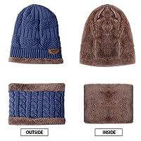 Aibrou Cappello Uomo Invernali in Maglia con Sciarpa, 2 Pezzi Cappello Sciarpa Uomo, Sciarpe da Sci all'aperto e Set Sciarpa