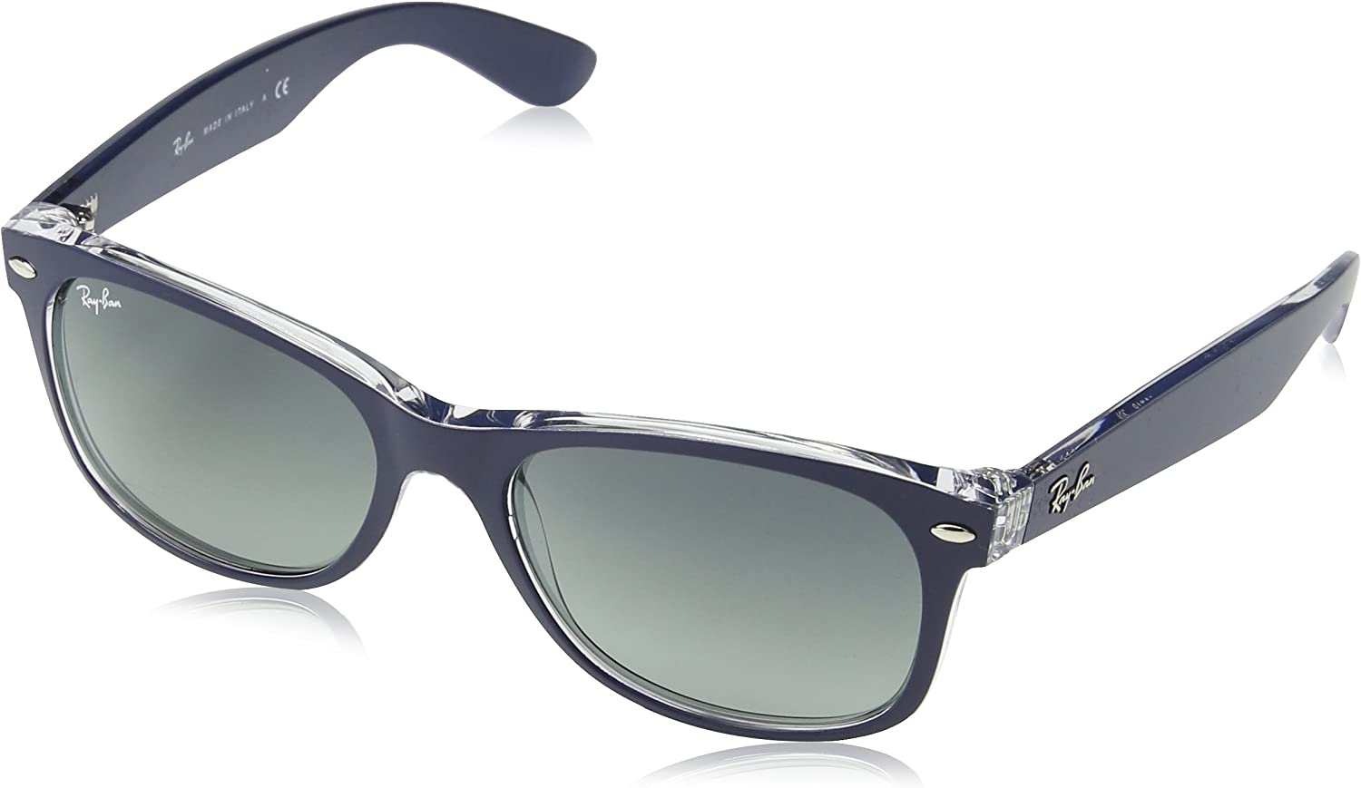 Ray-Ban New Wayfarer, Gafas de Sol Unisex  adulto, Multicolor (Blue and Transparent 605371), 55 mm