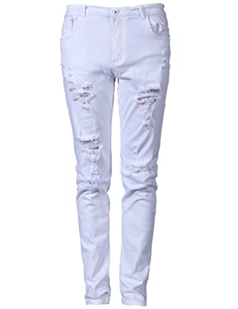 Moonwalk Men`s Elastic White Ripped Destroyed Jeans With Holes at ...