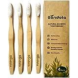 Brosse à dents naturelles en bambou Paquet de 4 brosses à dents en taille pour adultes En bois biologique antibactérien en bois biodégradable 100% végétalien sans BPA Écologicall par 'Gondola'