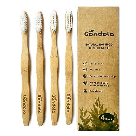 Cepillo de dientes natural de bambú Paquete de 4 cepillos de dientes de tamaño adulto Ecológico 100% vegano sin BPA Empaquetado biodegradable Cerdas ...