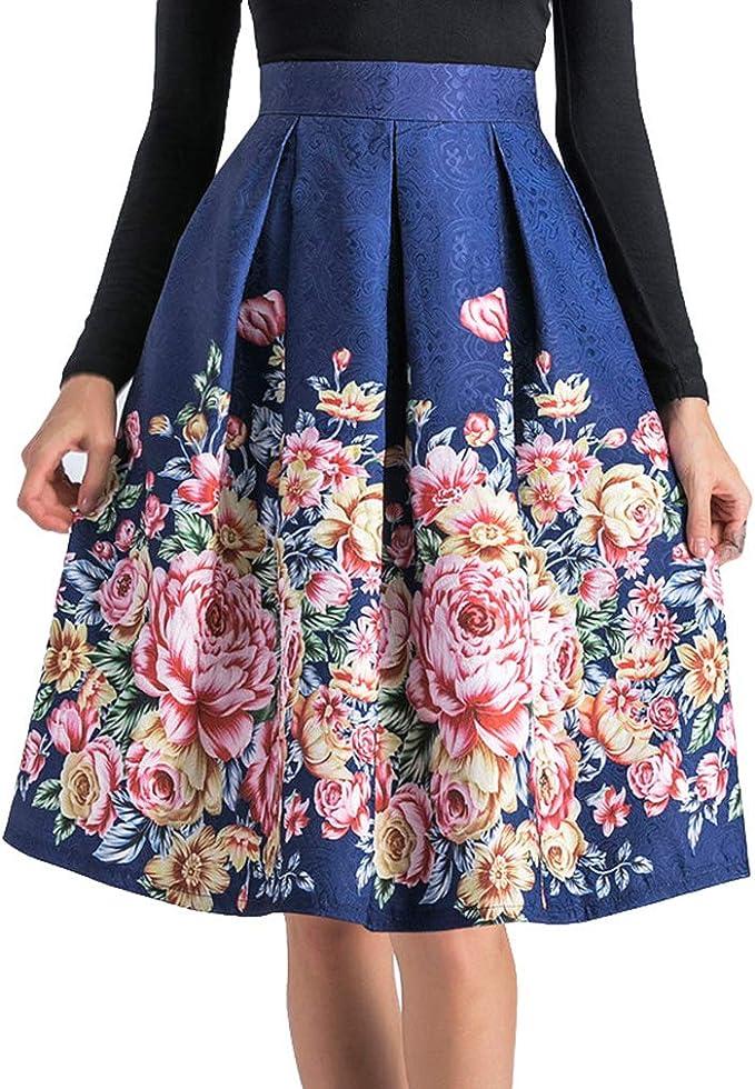 Yying Vintage Falda De Plisada Mujer Estampada Floral Elegantes ...