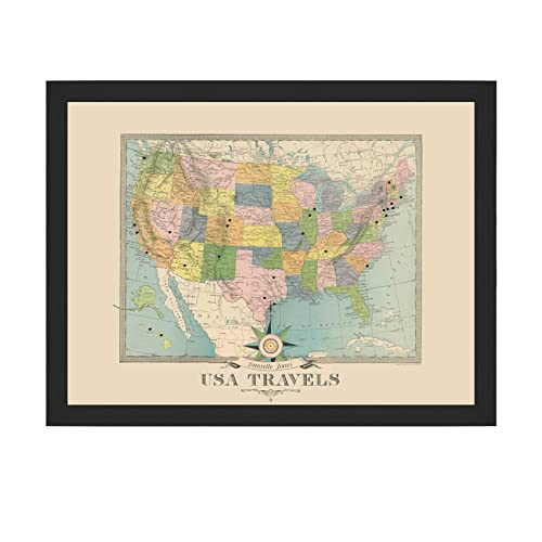 USA Travels Personalized Push Pin Map Colorful