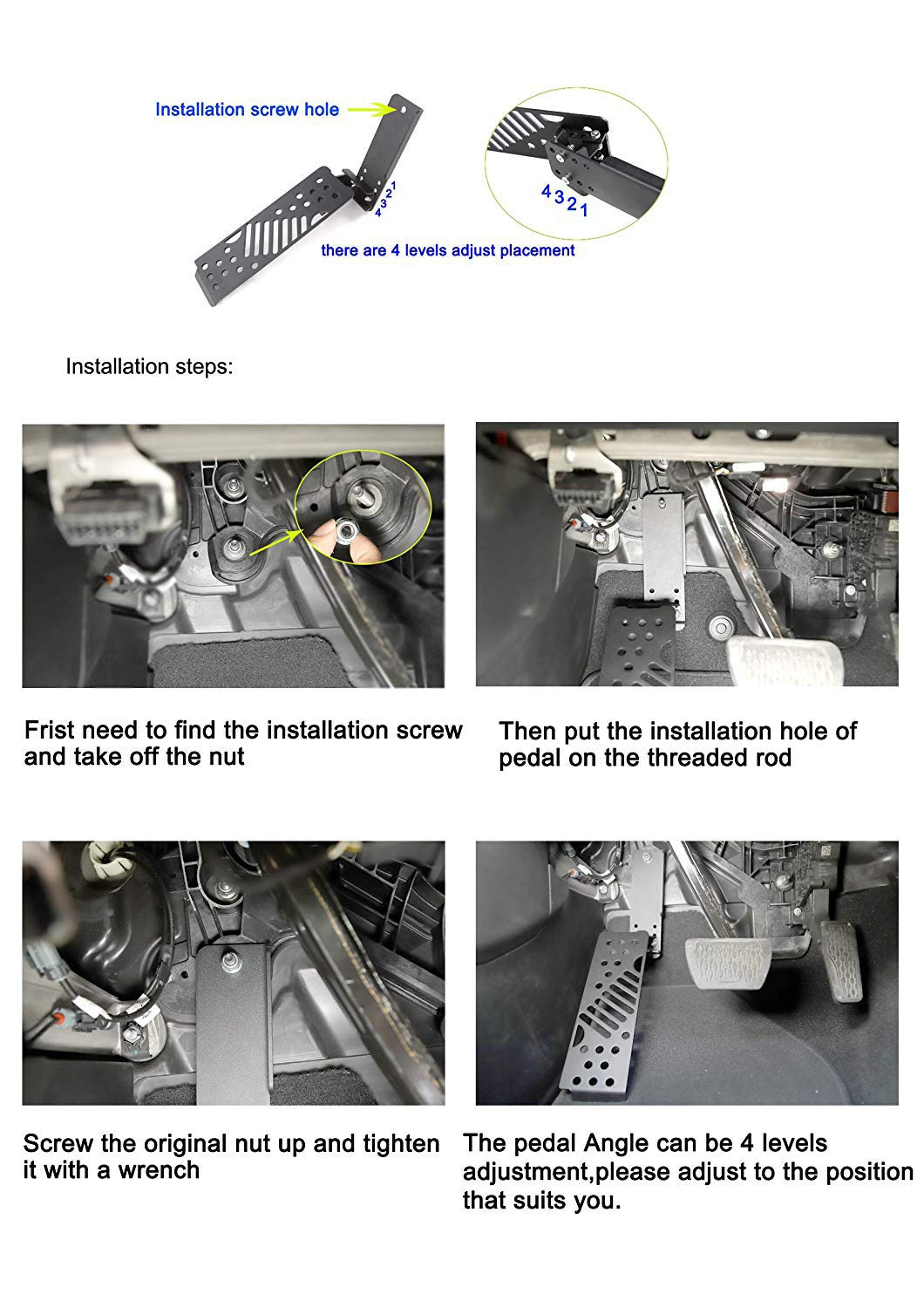 HEQIANG Black Left Foot Rest Dead Pedal Aluminium Alloy Adjustable Foot Pegs Kick Panel for 2018 Jeep Wrangler JL (Installation Instruction Inclueded)