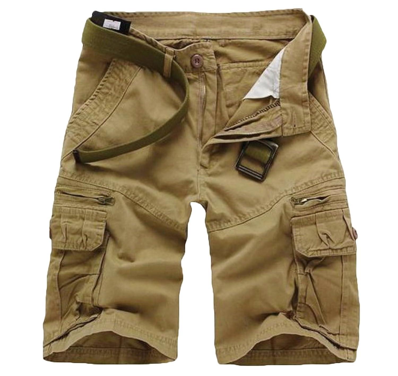 Elonglin - Pantalón Corto - Cargo - Liso - para Hombre Beige 40