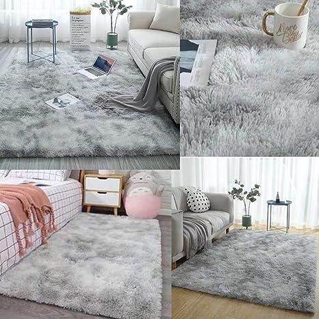 Twelve Faux Fur Sheepskin Rug Tie-dye Gradient Rectangular Table Sofa Side Area Rugs Soft Stylish Carpet 24x47inchs, Camel