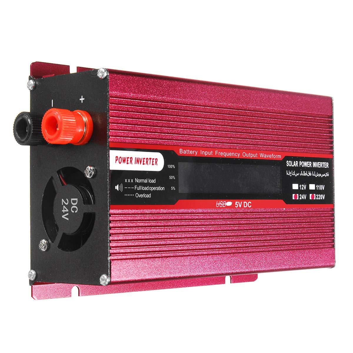 Anddoa 1000W DC 12V/24V to AC 220V/110V Solar Power Inverter Modified Sine Wave LCD Voltage Display - 12V-110V