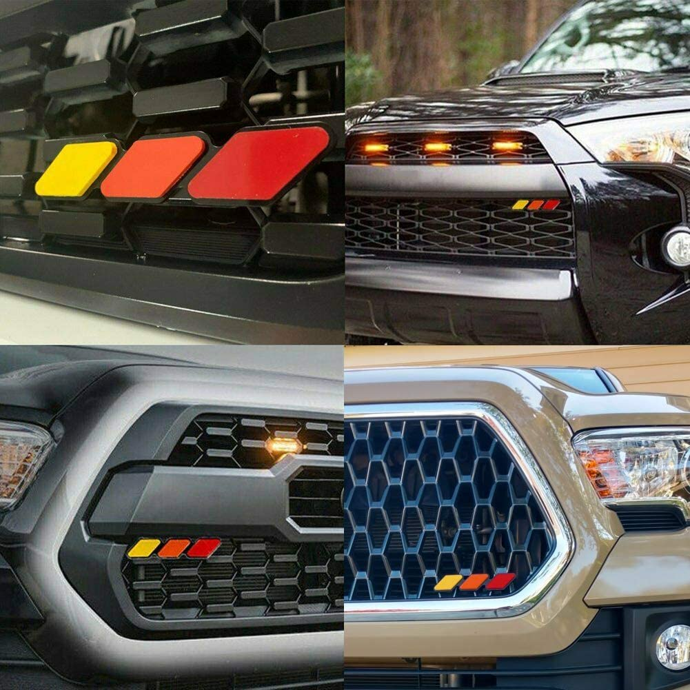Red /& Orange /& Yellow Standard Grille Badge Fit for Toyota Tacoma 4Runner Tundra Tri-color Grille Badge