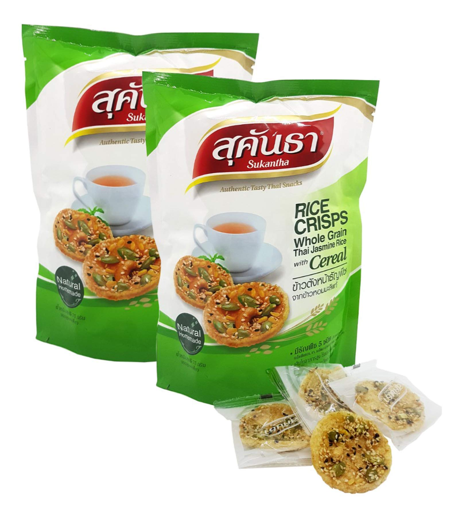 Sukantha Thai Rice Crisps KhaoTang Jasmine Rice with Pumpkin & Sesame Seeds, Chashew 75 Grams (Pack of 2