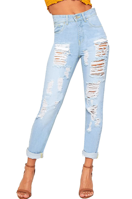 3c8f77f3108cd4 hochwertige WearAll Damen Extrem Zerrissene Bekümmert Breite Bein Mom Jeans  Neu Damen Hose Hose - 34