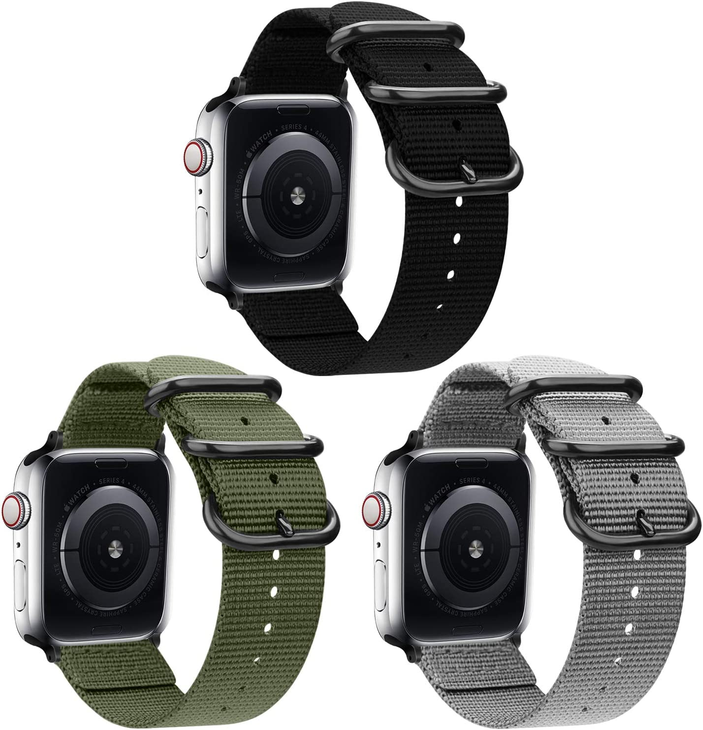 nylon Band Compatible with Apple Watch Band 44mm 42mm 40mm 38mm, Lightweight Breathable Woven Nylon Sport Wrist Strap with Metal Buckle Compatible 5/4/3/2/1 (16-, 38mm/40mm)