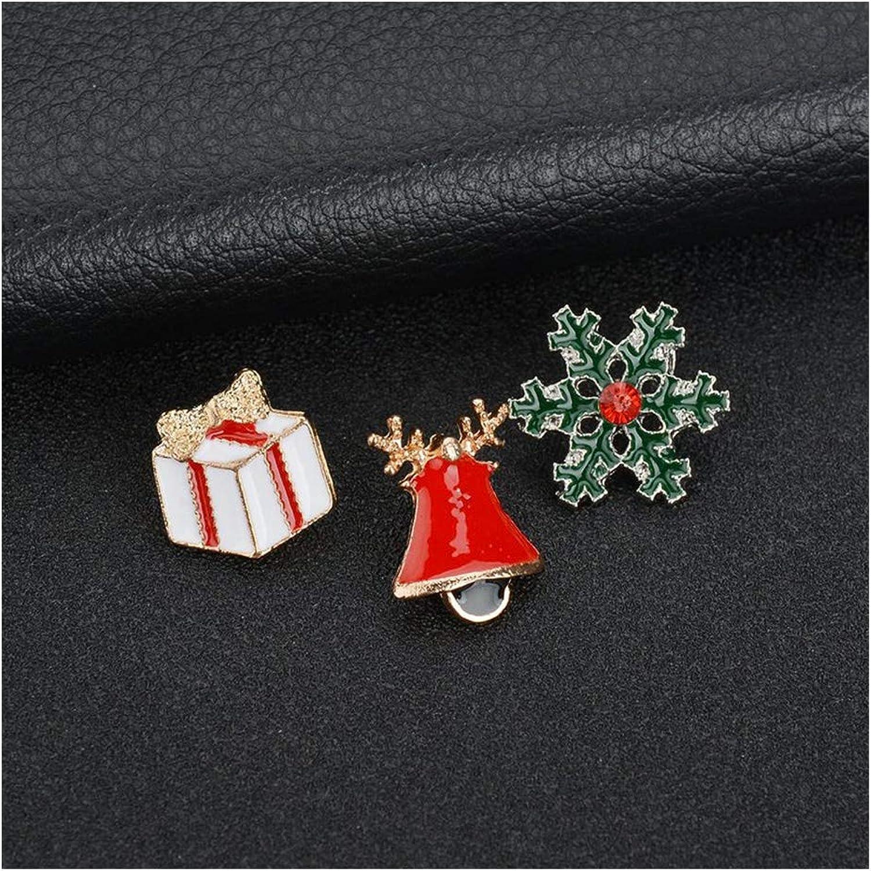 ForeverandEver Creative Santa Claus Christmas Trees Socks Hat Sock Rhinestone Brooches for Women Gift