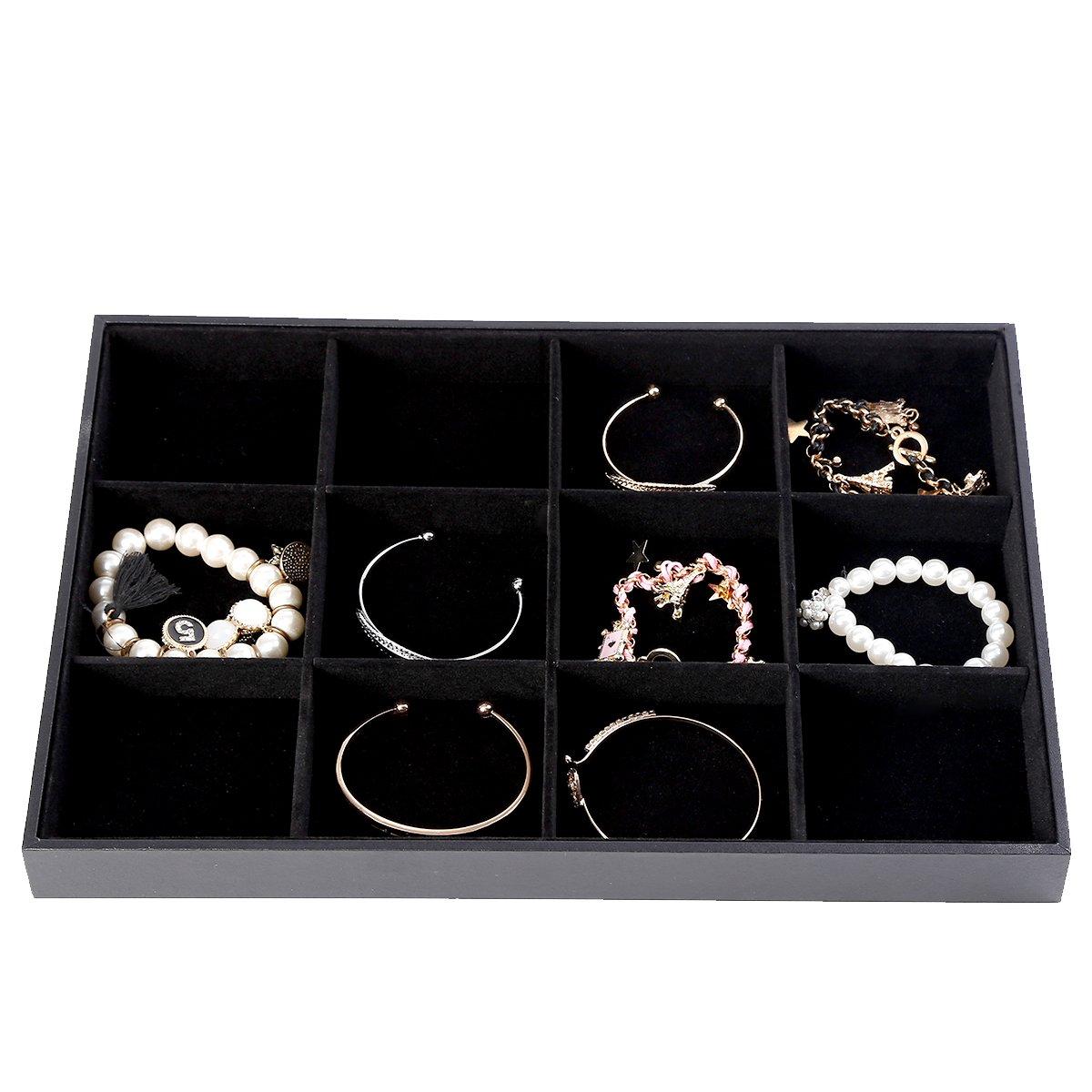 Soaptree Black Velvet 12 Grid Jewelry Tray Stackable Showcase Display Organizer , 1 Piece(12 Grid Jewelry Tray)