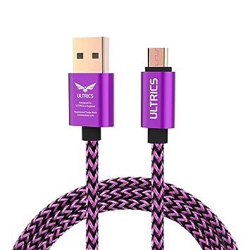 ULTRICS Cable Micro USB 3M, Trenzado Nylon Carga Rápida y Datos Sincro, Android Cargador Cable Compatible con Samsung Galaxy, LG Nokia PS4 Xbox 360, ...