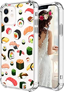 Hepix Sushi Compatible with iPhone 12 Case, Delicious Foods Clear iPhone 12 Pro Case for Women Girl, Flexible Soft TPU Phone Cover with 4 Corners, Camera Protection iPhone 12/12 Pro 6.1