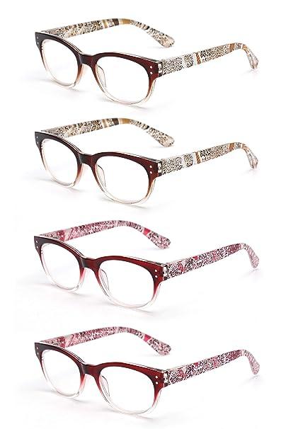 273b89269d JM 4 Pares Bisagras de Resorte Gafas de Lectura Sombra Color Lectores Para  Hombre y Mujer
