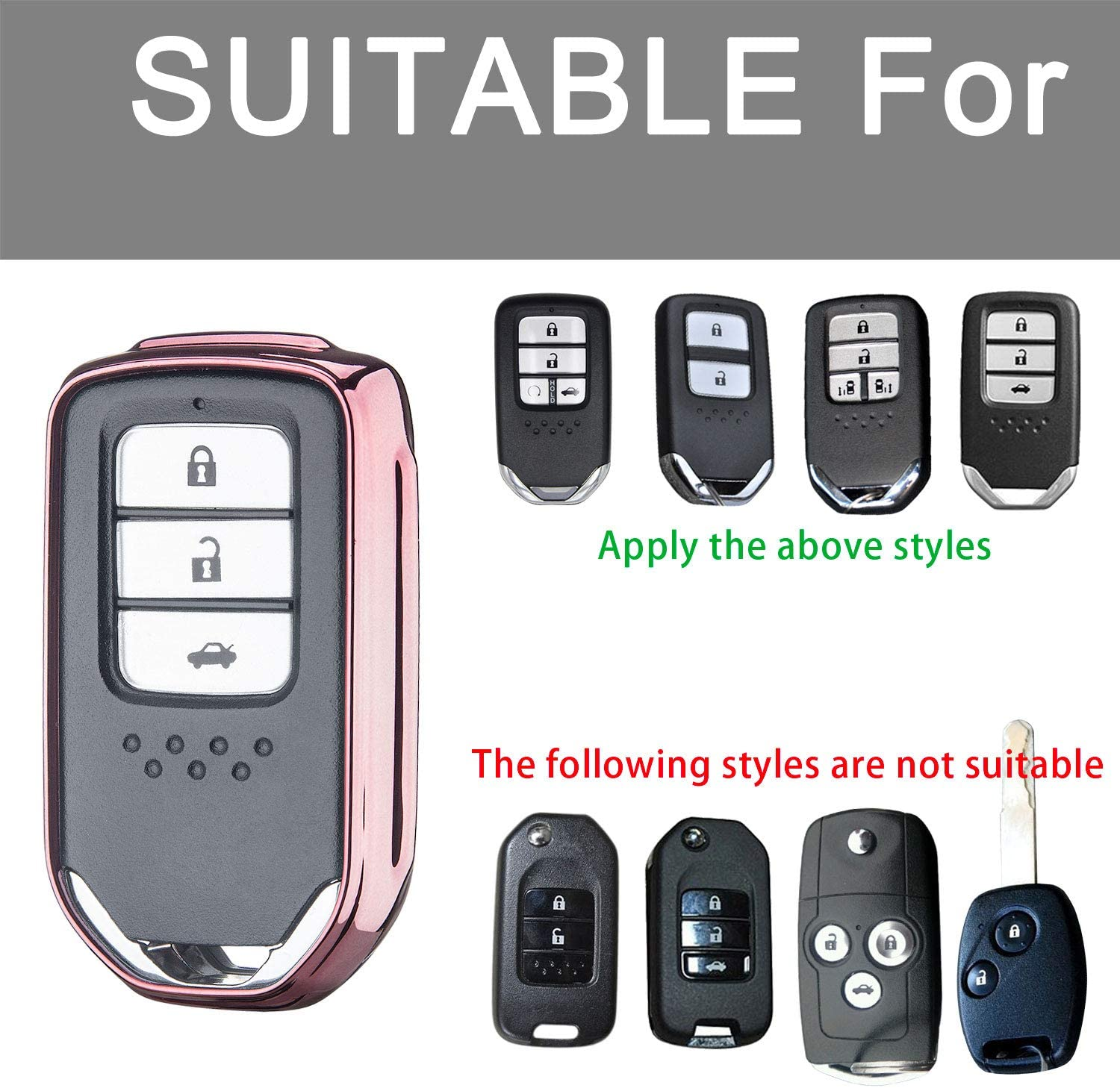 Silver Key Fob Cover for Honda,Soft TPU Key Fob Case All-Around Protector Plating Shell Fit Keyless Smart Remote Key of Honda Accord Civic CRV Pilot Odyssey Fit HRV Clarity CRZ Ridgeline EX EX-L