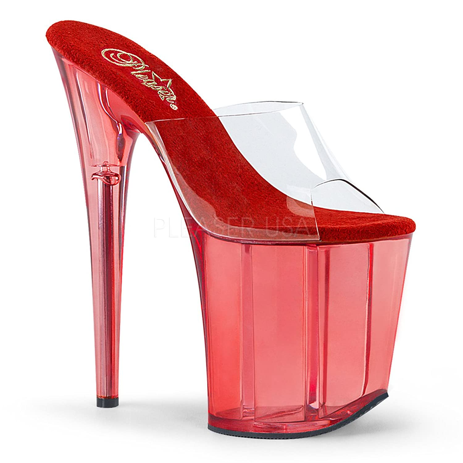 PLEASER FLAMINGO-801T Clear Red Tinted High Heel Exotic Dance Platform Slide