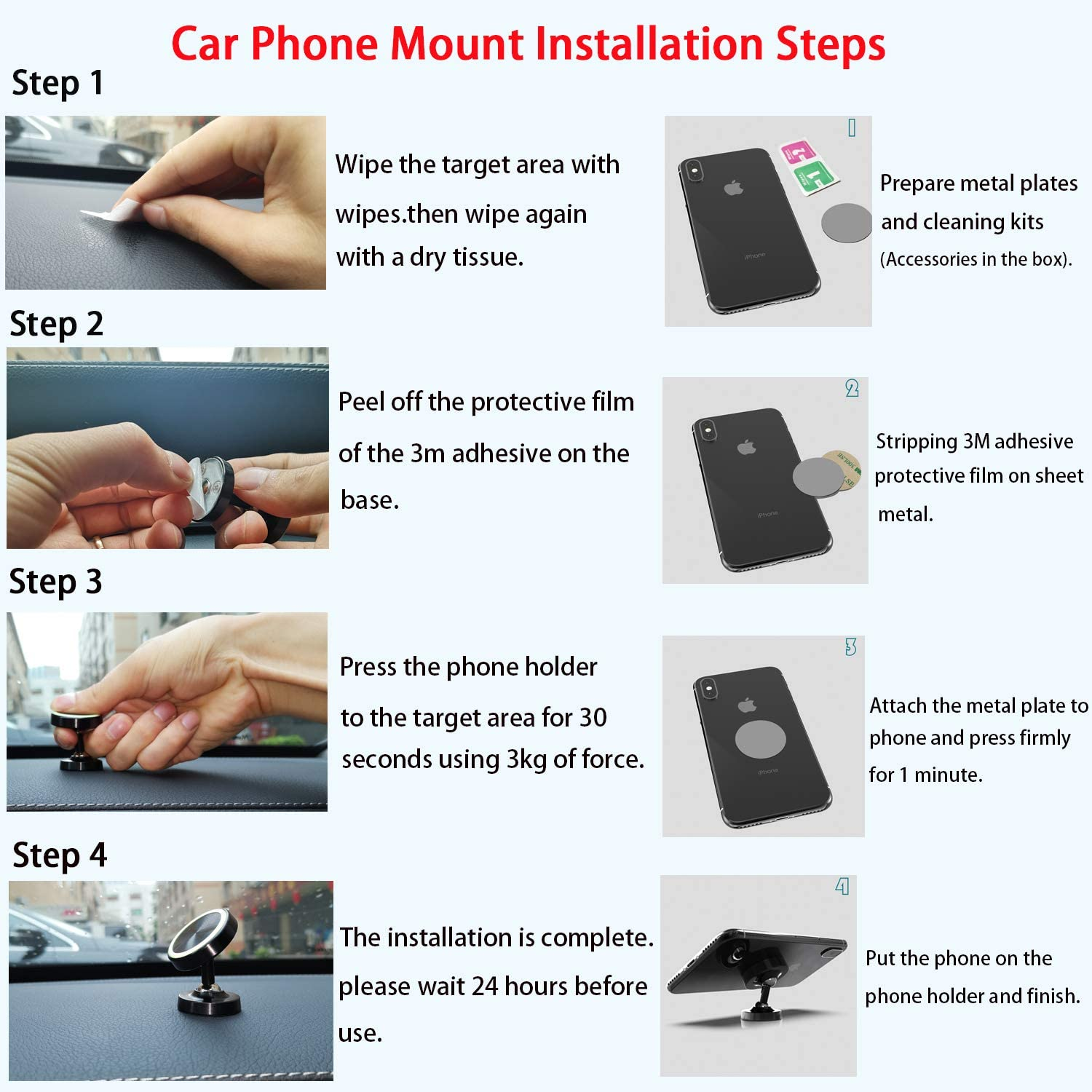 Magnetic Car Phone Holder for Dashboard,Snowwicase Double 360 Degrees Rotation Phone Car Mount with a Super Strong Magnet,Compatible iPhone Xs Max XR X 8 Plus Galaxy S9 S10 Note 8 Pixel 3 New Black