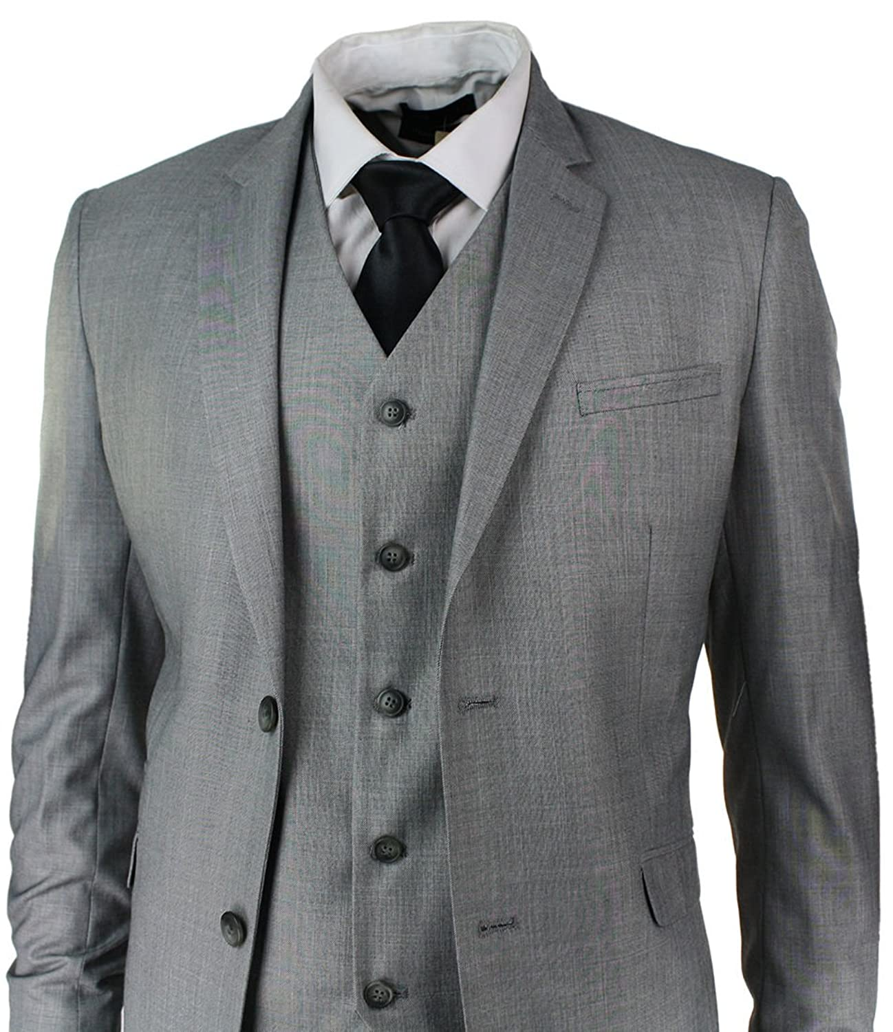 Mens Slim Fit Suit Light Grey Stitch Trim 3 Piece Work Office or ...