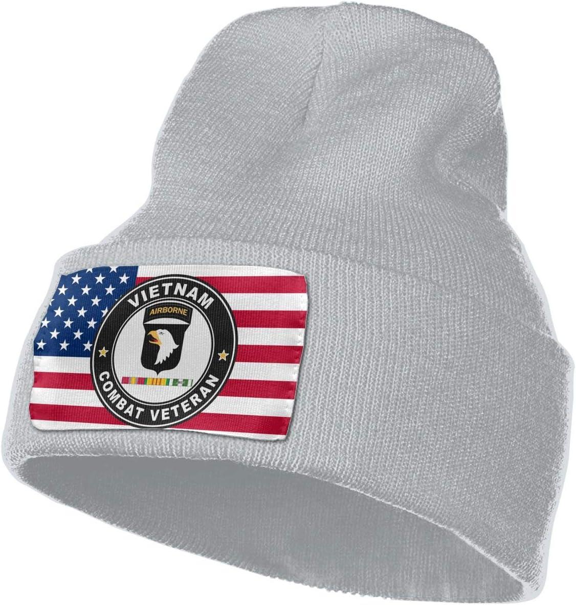 US Army 101st Airborne Division Vietnam Service Combat Veteran Men/&Women Warm Winter Knit Plain Beanie Hat Skull Cap Acrylic Knit Cuff Hat