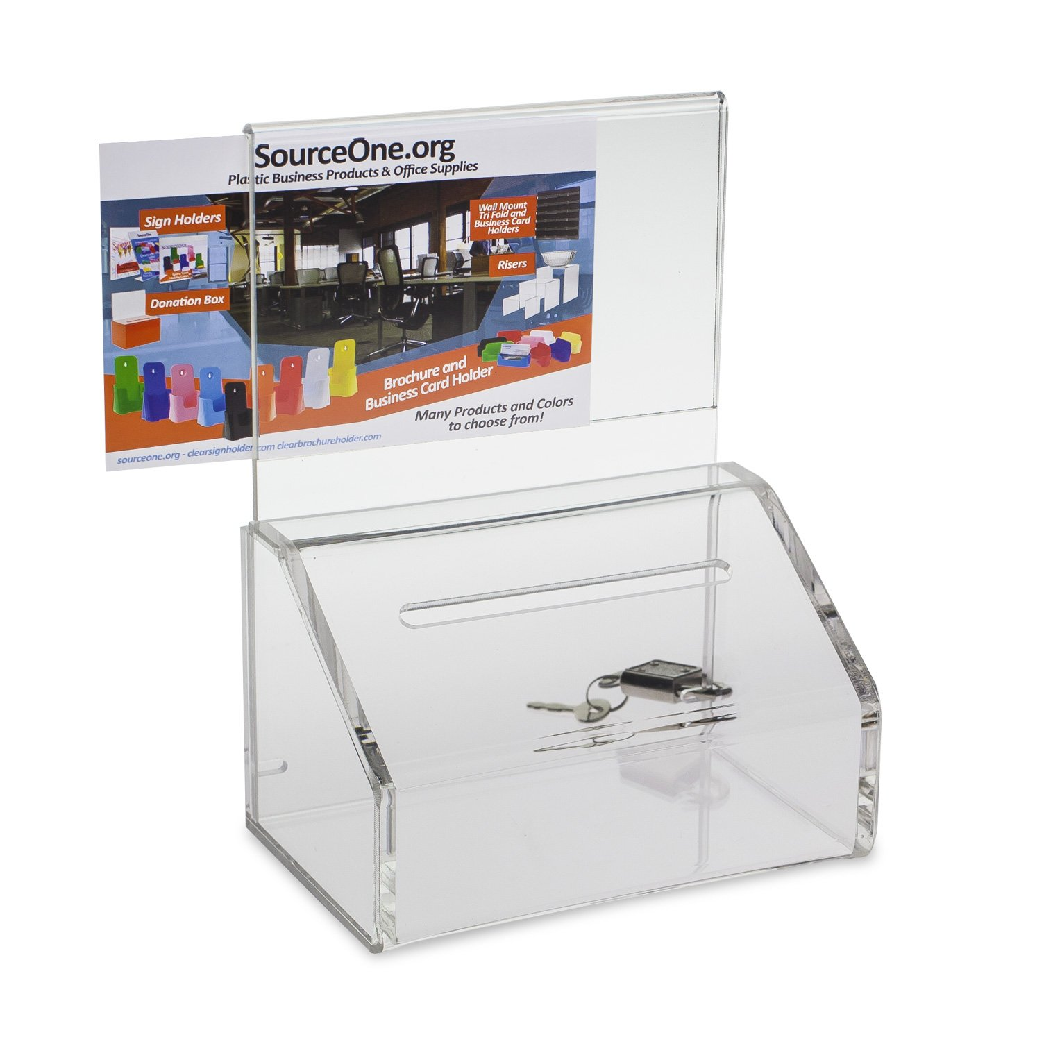 Source One Heavy Duty Donation / Ballot Box with Lock and Sign Holder (40 Pack, Clear)