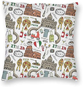 WAZHIJIA Italian Rome Art Decorative Throw Pillow Covers 18 X 18 Inch,Cartoon City Landscape and Food Cotton Linen Cushion Cover Square Pillow Cases for Car Sofa Home Decor