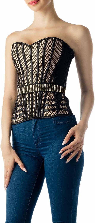 iB-iP Donna Allaccia la Cintura Bustier Vintage di Rivetti Slim Stripes Corsetto Soprabusto