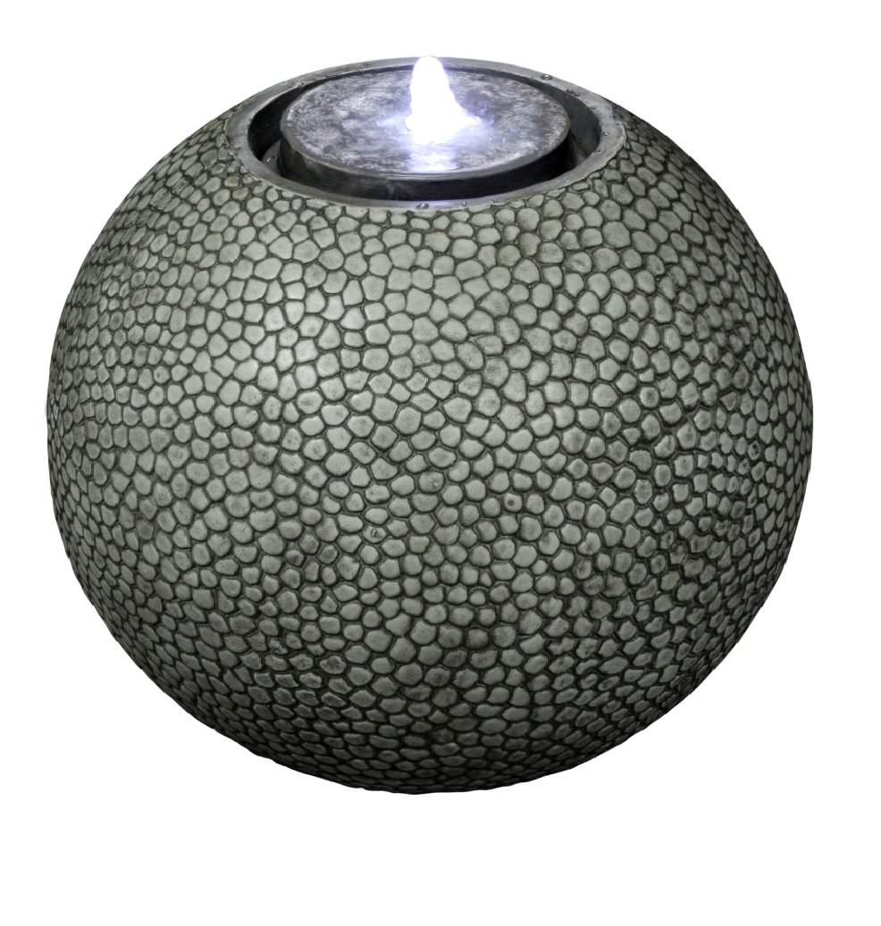 Harmony Fountains Pebble Sphere 19'' Fountain w/LED Light: Large Ball Water Feature, Indoor/Outdoor, Garden Fountain, Patio Fountain HF-S04-19L by