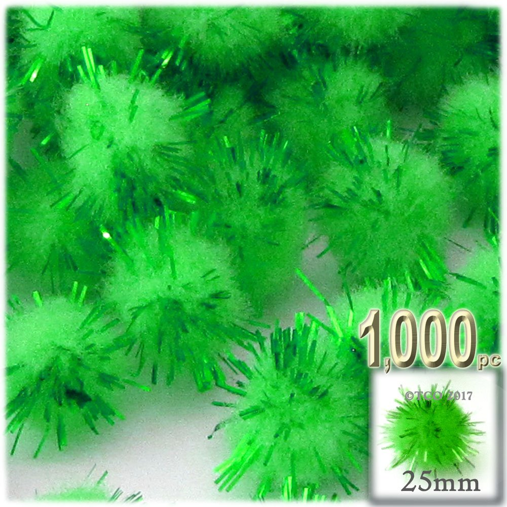The Crafts Outlet Chenille Sparkly Pom Poms, Green porcupine, 1.0-inch (25-mm), 1000-pc, Light Green by The Crafts Outlet