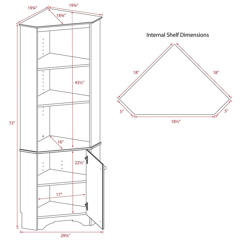 White Prepac WSCC-0604-1 Elite Home Corner Storage Cabinet Tall 1-Door