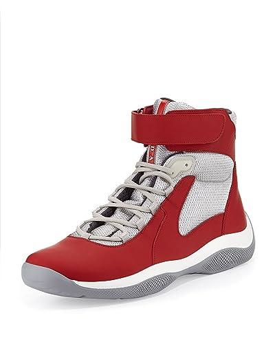 Prada Men's Punta Ala High Top Sneaker, Rosso (Red) 4T2964 (US 8