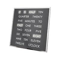 Grey LED Word Clock - A Clock That displays The time in Text- Decorative Desktop Quartz Clock - Shelf/Desk / Table Novelty Timepiece