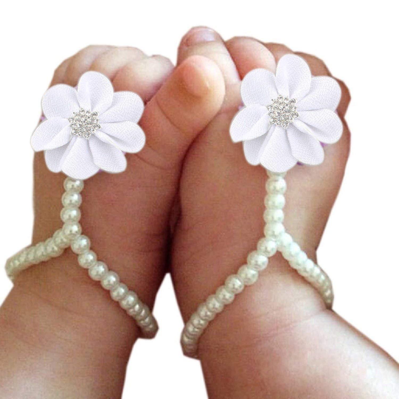 Baby Girl Barefoot Flower Sandals-Baby Girl Pearl Chiffon Foot Flower Shoes Barefoot Sandals Infant Girls Shoes