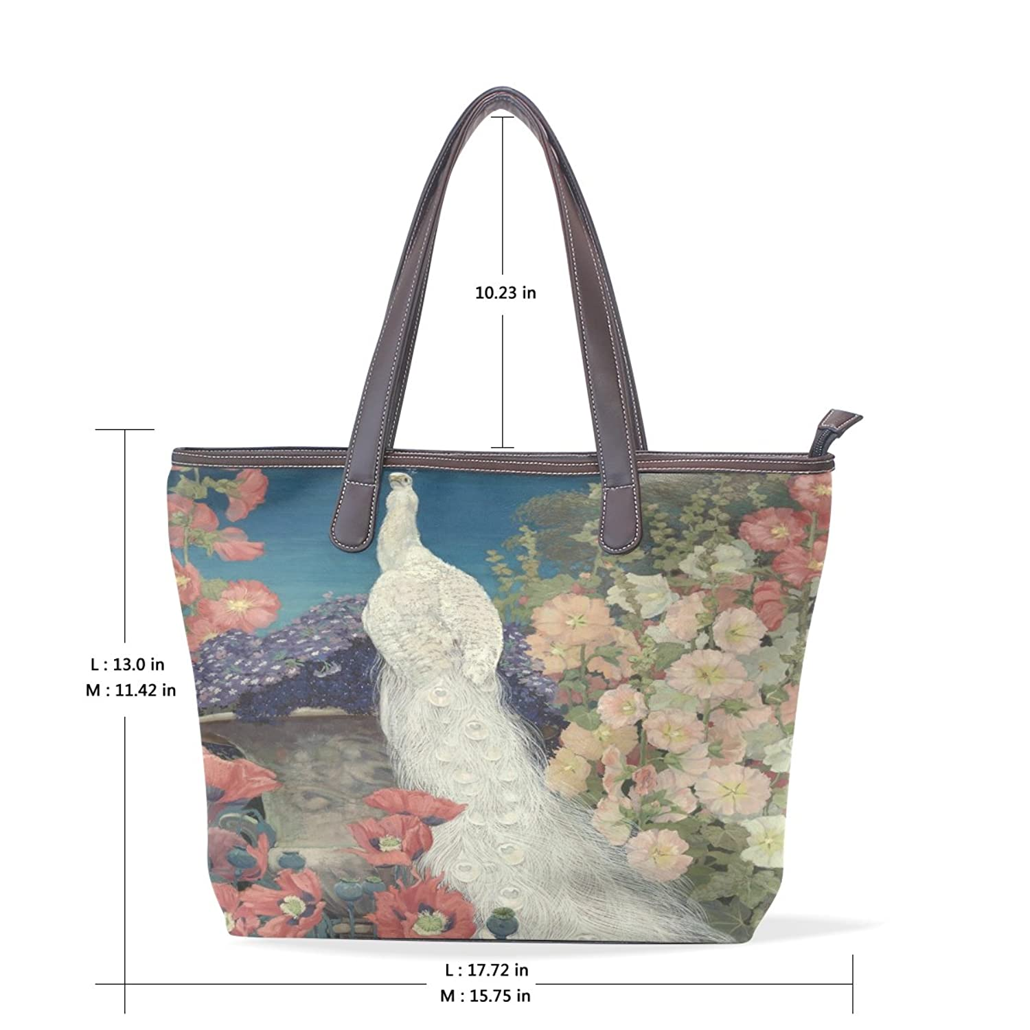 Womens Leather Tote Bag,Art Elegant White Peacock,Large Handbag