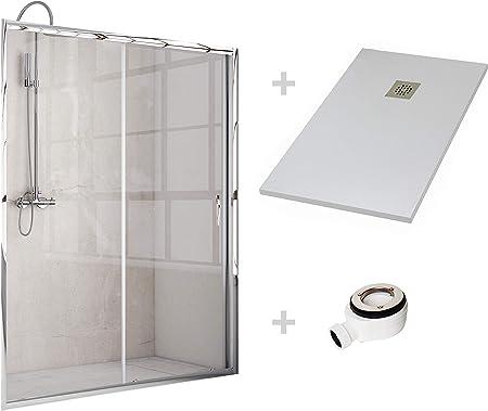 Crocket Kit Mampara de Ducha Frontal + Plato de Ducha de Resina Stone + Puerta Corredera Cristal Transparente - Incluye Sifón y Rejilla - Blanco RAL 9003-70 x 100 (Adaptable 97 a 100 cm): Amazon.es: Hogar