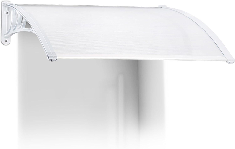 Relaxdays Marquesina toldo Techo para Puertas protección, plástico, Aluminio, 100 x 80 cm, tejado, Transparente, 80x100x24 cm