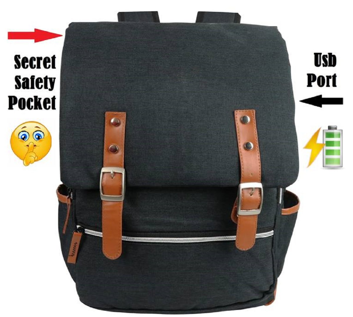 Laptop Backpack - 15.6 Inch Computer Bag Waterproof, Canvas Rucksack w/USB Charging Port and a Secret Safety Pocket. Slim, Retro Style 4 Men & Women for Office or School. Chic Black.