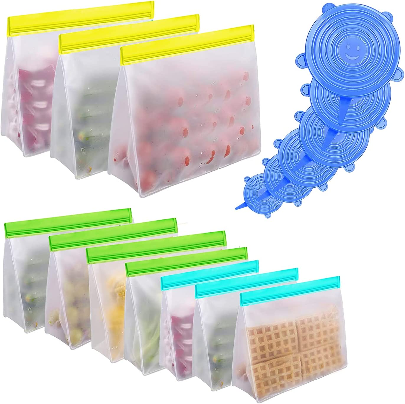Reusable Food Storage Bags, 16 Pack Stand Up Extra Thick Food Grade PEVA Freezer Bags - Leakproof Seal Reusable Lunch Bag for Meat Fruit Veggies, BPA Free, Freezer Safe(3 Extra Large,4 Large,3 Medium)