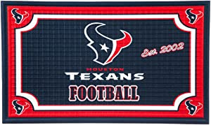 """Team Sports America NFL Houston Texans Embossed Outdoor-Safe Mat - 30"""" W x 18"""" H Durable Non Slip Floormat for Football Fans"""