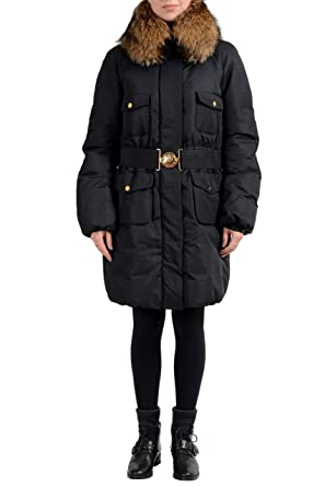 Amazon Com Moncler Women S Black Down Fur Trimmed Hooded Parka