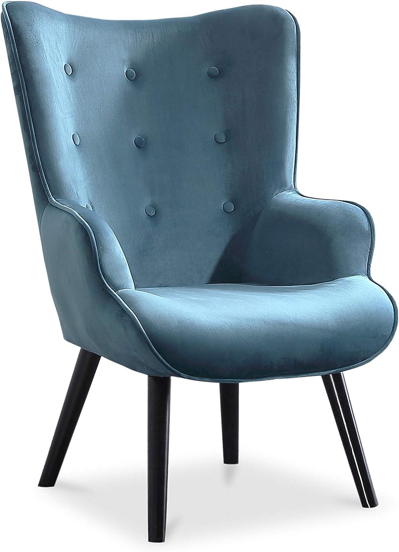 Adec - Voss, Sillon de diseño, butaca de Espera Fija, Patas nórdicas en Madera Color Negro, descalzadora tapizada en Color Verde Aguamarina Medidas: 71 cm (Ancho) x 75 cm (Fondo) 95 cm (Alto)