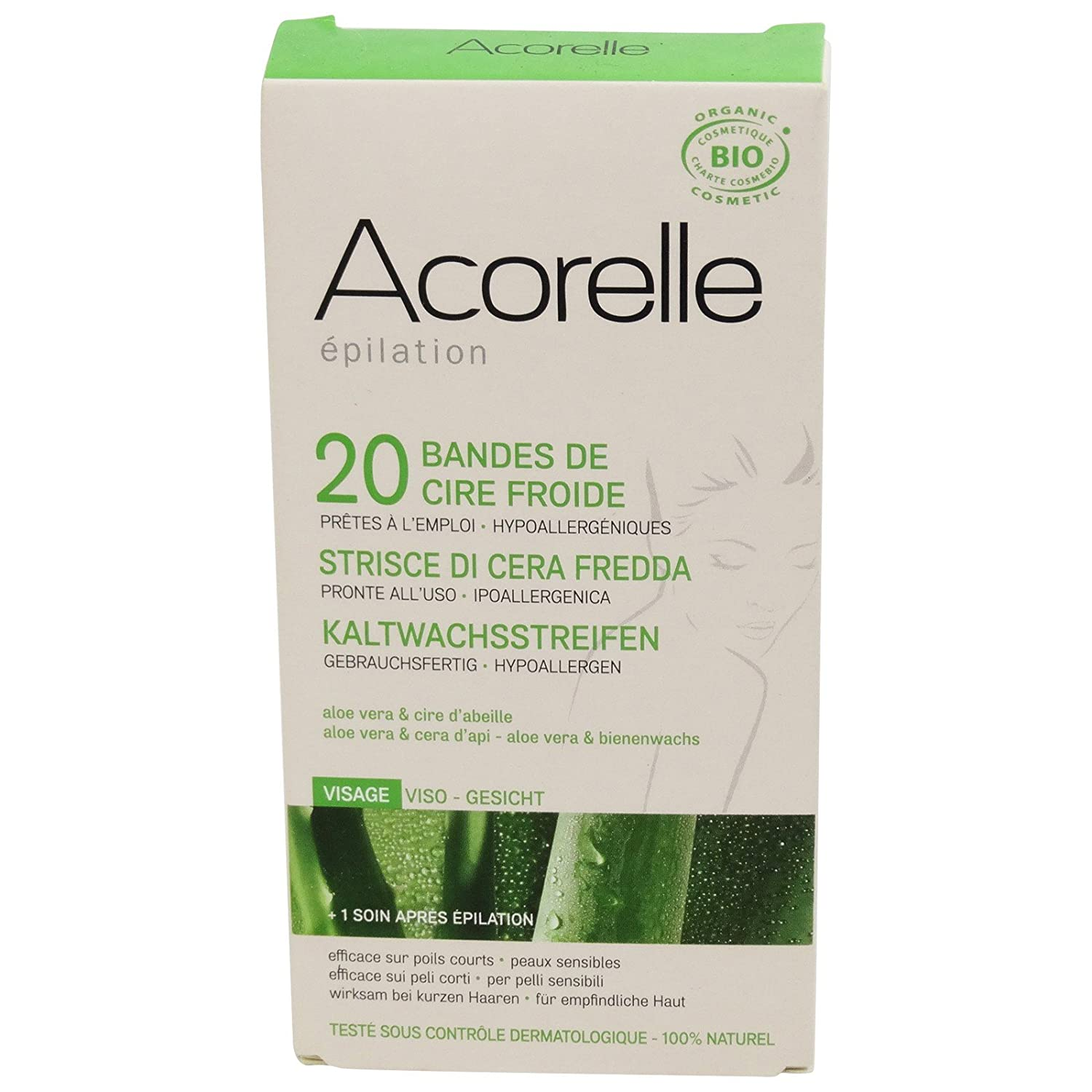 ACORELLE Cold Wax Strips Face - Natural, Certified Organic & Hypo-Allergenic Yumi Bio Shop