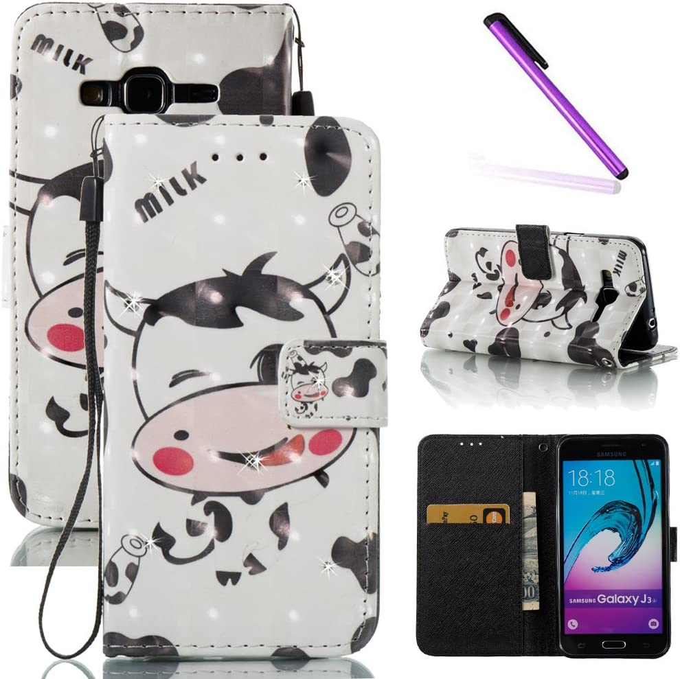 Kickstand Galaxy J3 2016 Case,J310 Case,LEECOCO Fancy Print Floral Wallet Case with Card//Cash Slots PU Leather Folio Flip Protective Case Cover for Samsung Galaxy J3 2015//2016 Smile Cat