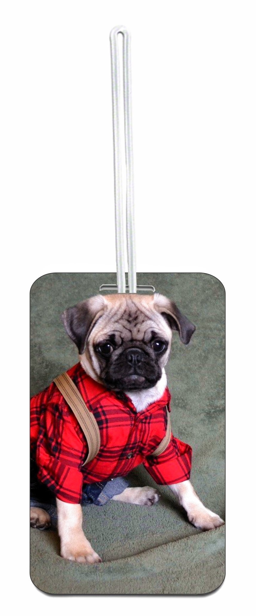 Pug in Clothes Hard Plastic Luggage Tag with Personalized Back